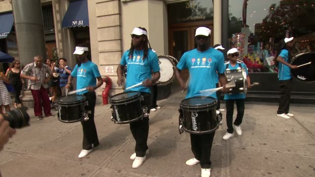 brooklyn united marching band at dylan's candy bar union square grand opening at dylan's candy bar on september 1, 2015 in new york city. - marching band stock videos & royalty-free footage