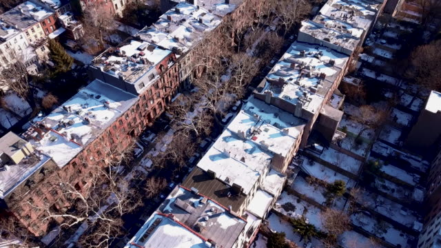 brooklyn winter drone footage - winter stock videos & royalty-free footage