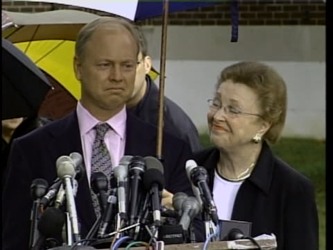 brother and mother of martha moxley, dorothy and john moxley, speak to the press about everyone's help on the martha moxley case. martha moxley was... - ethel kennedy stock videos & royalty-free footage