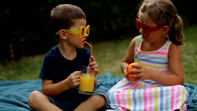 brother and sister having a picnic - girl sitting cross legged stock videos & royalty-free footage
