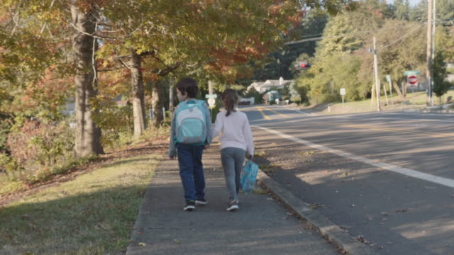 brother and sister holding hands as they walk home from school - back to school stock videos and b-roll footage