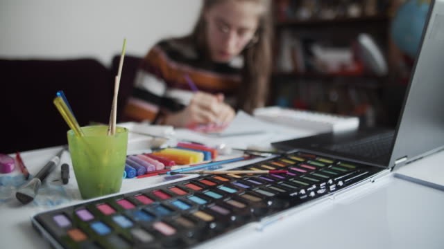 brother and sister learn painting at home - paintings stock videos & royalty-free footage