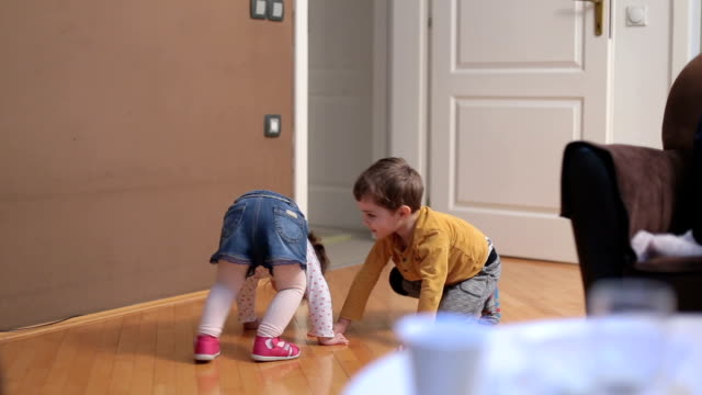 brother and sister making pose and playing at home - 2 3 years stock videos & royalty-free footage