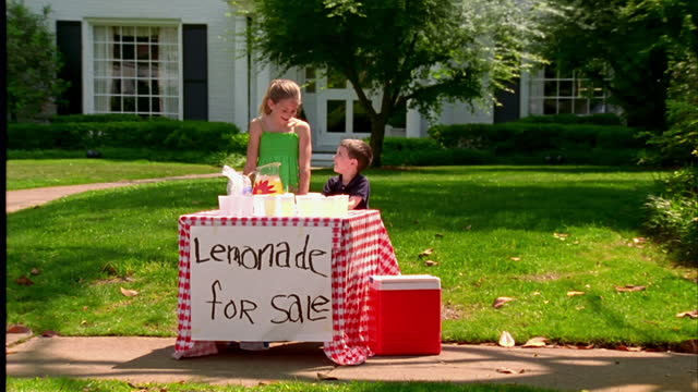 a brother and sister man the lemonade stand in front of their suburban home. - lemonade stock videos and b-roll footage