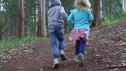 Brother and sister running through the lush green forest