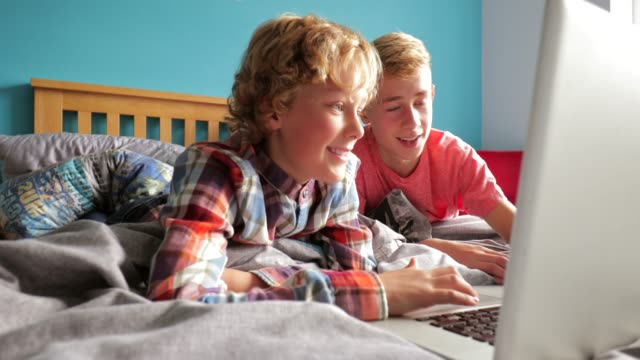 brothers using laptop - teenage boys stock videos & royalty-free footage