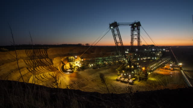 brown coal mining - time lapse - surface mine stock videos and b-roll footage