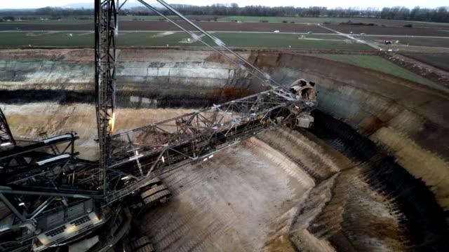 aerial : brown coal mining - bucket stock videos & royalty-free footage