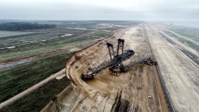 aerial : brown coal surface mine - surface mine stock videos and b-roll footage