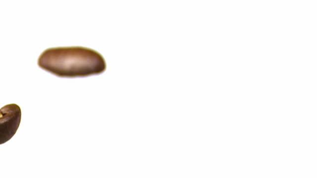 brown coffee beans falling macro shot - echtzeit stock videos & royalty-free footage