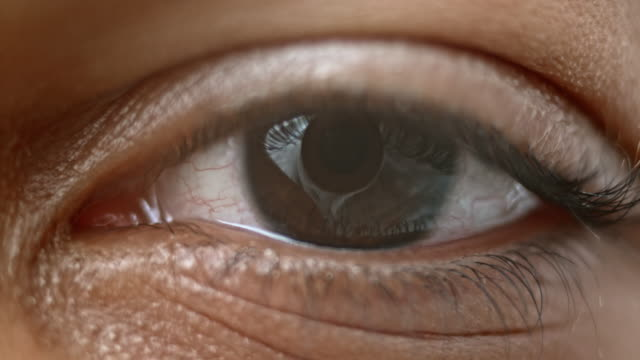 ecu brown colored iris of a human eye - eyeball stock videos and b-roll footage