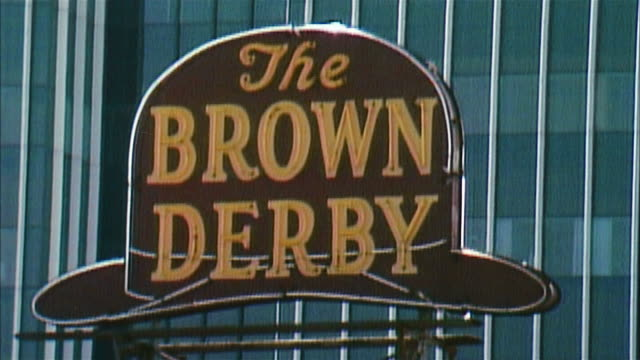 cu brown derby restaurant sign, los angeles - cobb salad stock videos & royalty-free footage