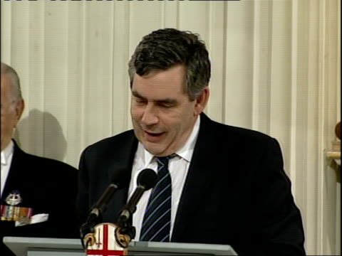 brown mansion house speech: details; gordon brown mp speech sot - my lord mayor, mr governor, my lords, aldermen, mr recorder, sheriffs, ladies and... - 50 seconds or greater stock-videos und b-roll-filmmaterial