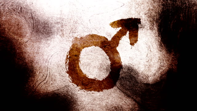 brown mars, male, gender symbol on a high contrasted grungy and dirty, animated, distressed and smudged 4k video background with swirls and frame by frame motion feel with street style for the concepts of gender equality, women-social issues - gender symbol stock videos & royalty-free footage