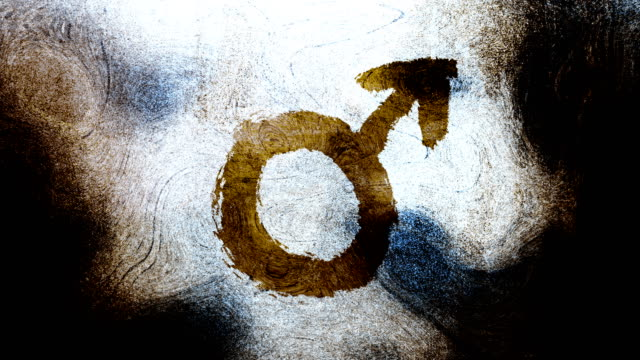 brown mars, male, gender symbol on a high contrasted grungy and dirty, animated, distressed and smudged 4k video background with swirls and frame by frame motion feel with street style for the concepts of gender equality, women-social issues - gender symbol stock videos and b-roll footage