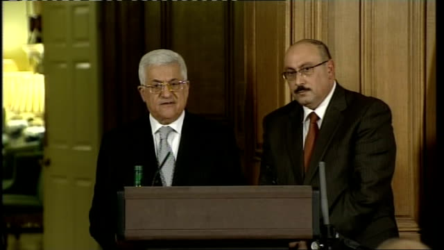 brown meets abbas press conference question on political support for the government of palestine and the political process after the meerting at... - historical palestine stock videos & royalty-free footage