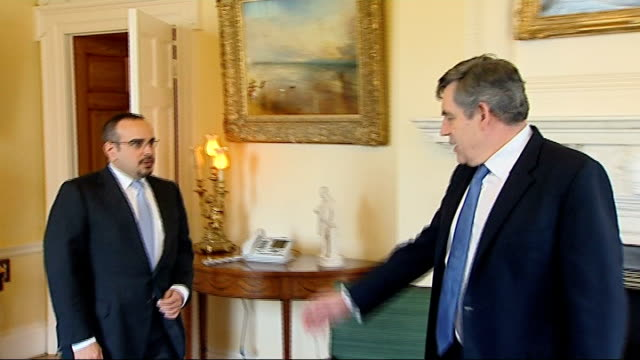 brown meets crown prince of bahrain england london downing street number 10 int prime minister gordon brown mp and the crown prince of bahrain shaikh... - crown prince stock videos & royalty-free footage
