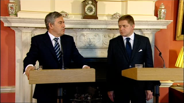 brown meets with slovakian prime minister question sot i would like to raise a question for both prime ministers i would like to know whether you... - slovakia stock videos & royalty-free footage