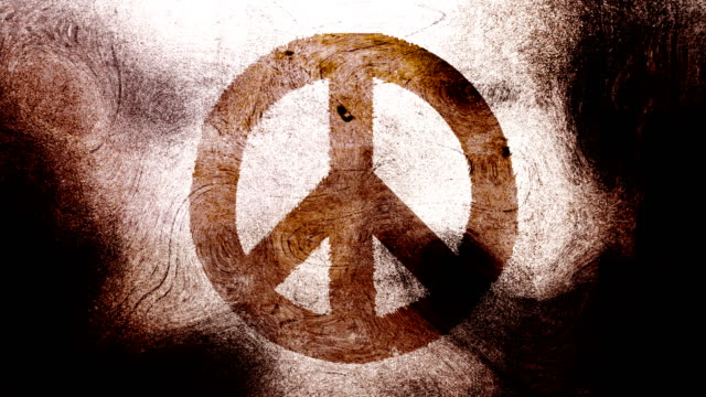 Brown peace symbol on a high contrasted grungy and dirty, animated, distressed and smudged 4k video background with swirls and frame by frame motion feel with street style for the concepts of peace, world peace, no war, protest, and tranquility