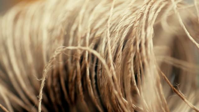 brown rope natural texture for handcraft. - filo articolo di merceria video stock e b–roll