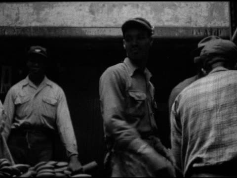 brown skin men working in ship cargo hold carrying long stalks of bananas to lifting conveyor rack import imported tropical commercial dock workers... - banana stock videos & royalty-free footage