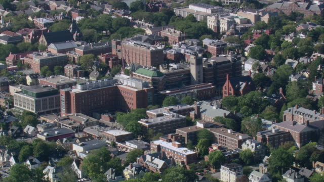 AERIAL Brown University skyline and surrounding neighborhood / Providence, Rhode Island, United States