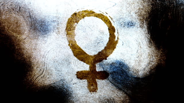 brown venus,female, gender symbol on a high contrasted grungy and dirty, animated, distressed and smudged 4k video background with swirls and frame by frame motion feel with street style for the concepts of gender equality, women-social issues - gender symbol stock videos & royalty-free footage