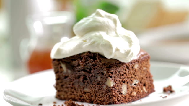 brownie cake with cream