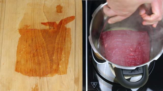 Browning beef brisket.