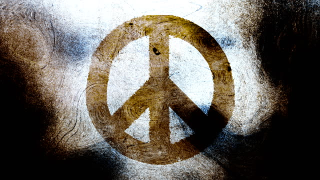 Brownish blue peace symbol on a high contrasted grungy and dirty, animated, distressed and smudged 4k video background with swirls and frame by frame motion feel with street style for the concepts of peace, world peace, no war, protest, and tranquility