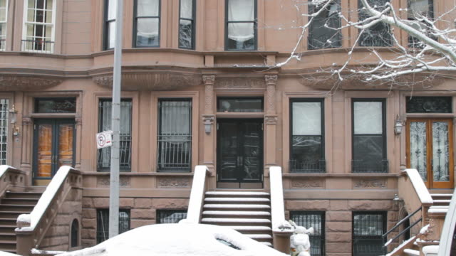 TS Brownstones on snowy street - direct front shot with stoops / Brooklyn, New York, USA