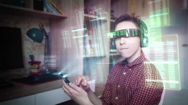 browsing a virtual world in augmented reality glasses - hologram stock videos & royalty-free footage