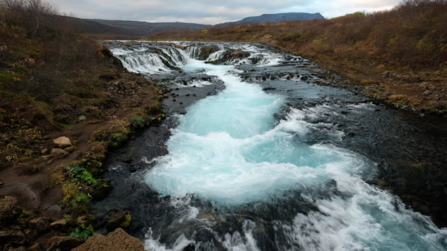 bruarfoss waterfall, iceland - reykjavik stock videos and b-roll footage