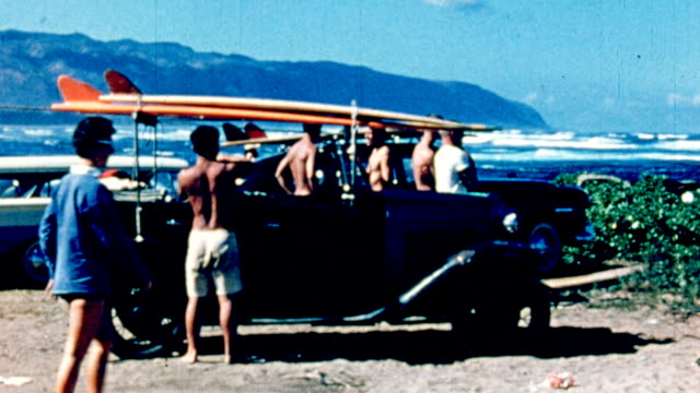 bruce brown getting into car with surfboards on it - surf stock videos & royalty-free footage