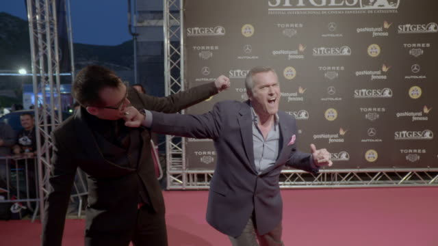 bruce campbell and the director of the sitges film festival angel sala attend the 49th sitges film festival 2016 on october 15, 2016 in sitges,... - bruce campbell stock videos & royalty-free footage