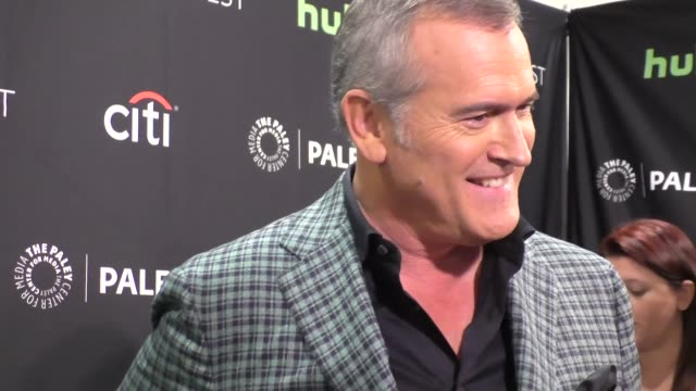 bruce campbell at the ash vs evil dead paley fest 2016 fall tv preview at paley center in beverly hills in celebrity sightings in los angeles, - bruce campbell stock videos & royalty-free footage