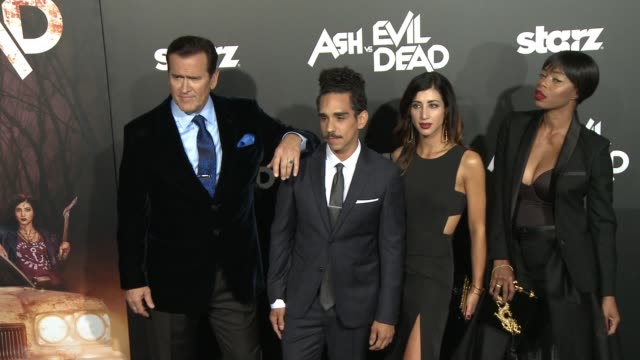 """bruce campbell, dana delorenzo, ray santiago, craig digregorio, and jill marie jones at the """"ash vs. evil dead"""" los angeles premiere and live... - bruce campbell stock videos & royalty-free footage"""