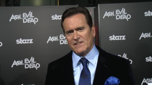 INTERVIEW Bruce Campbell on being here what to expect on the show and what fans will think at the Ash Vs Evil Dead Los Angeles Premiere And Live...