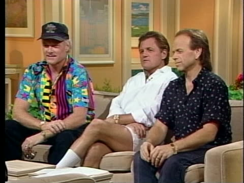 bruce johnston mike love and alan jardine of the beach boys discuss their renewed popularity - mike love stock videos & royalty-free footage
