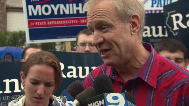 bruce rauner talks about campaign spending at a labor day parade in schaumburg ill - bruce stock videos & royalty-free footage