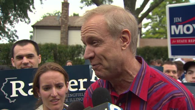 bruce rauner talks about illinois' minimum wage at a labor day parade in schaumburg ill - bruce stock videos & royalty-free footage