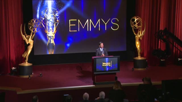 Bruce Rosenblum introduces Carson Daly and Mindy Kaling 66th Primetime Emmy Awards Nominations Announcement at Leonard H Goldenson Theatre on July 10...