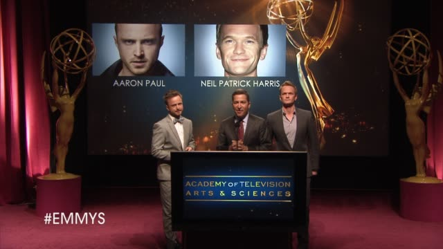bruce rosenblum welcomes viewers to the nominations announcement by aaron paul and neil patrick harris at the 65th primetime emmy awards nominations... - emmy awards nominations stock videos & royalty-free footage