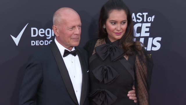 bruce willis and emma heming at the comedy central roast of bruce willis at hollywood palladium on july 14 2018 in los angeles california - bruce willis stock-videos und b-roll-filmmaterial