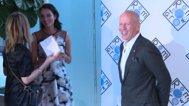 bruce willis at room to grow benefit at gustavino's on april 05 2017 in new york city - bruce willis stock videos and b-roll footage