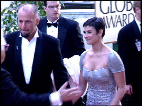 bruce willis at the 1997 golden globe awards at the beverly hilton in beverly hills california on january 19 1997 - bruce willis stock videos and b-roll footage
