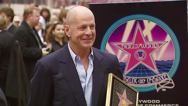 bruce willis at the dedication of bruce willis' star on the walk of fame at hollywood boulevard in hollywood california on october 16 2006 - bruce willis stock videos and b-roll footage