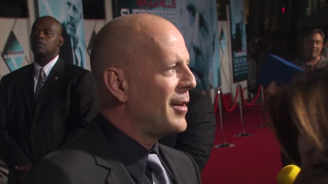 bruce willis at the 'surrogates' premiere at hollywood ca - bruce willis stock videos and b-roll footage