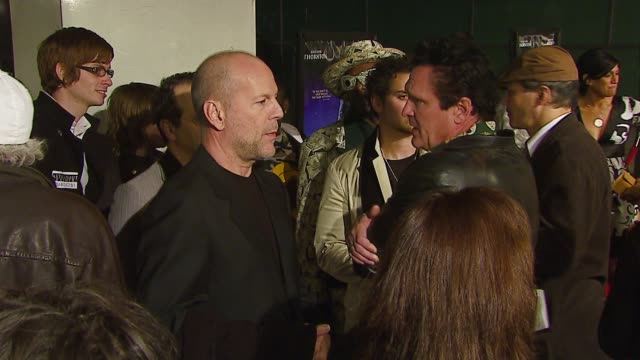 bruce willis at the 'the astronaut farmer' premiere at the cinerama dome at arclight cinemas in hollywood california on february 20 2007 - the astronaut farmer stock videos and b-roll footage