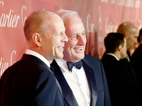 bruce willis jerry weintraub at the 2008 palm springs international film festival hosts starstudded awards gala presented by cartier red carpet... - bruce willis stock videos and b-roll footage